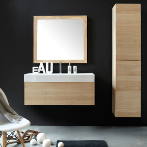 mueble de lavabo suspendido / de madera / contemporáneo / prefabricado