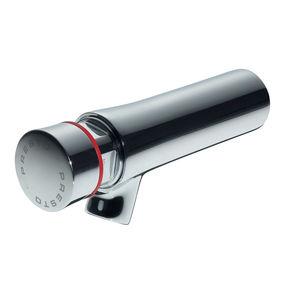 grifo monomando para lavabo / de pared / de latón cromado / con temporizador