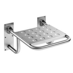 asiento de ducha abatible / de pared / de acero inoxidable / para el sector servicios