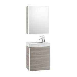mueble de lavabo suspendido / de madera / contemporáneo / con espejo