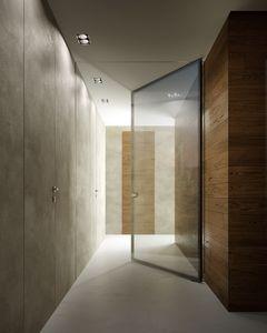 puerta de interior / abatible / de vidrio / de metal