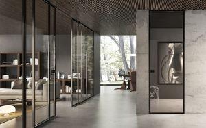 puerta de interior / corredera / de vidrio / acristalada