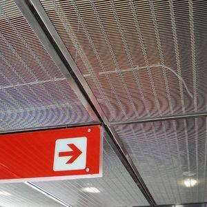 falso techo de acero inoxidable / de malla metálica / tipo panel / acústico