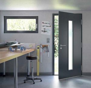 puerta de entrada / abatible / de acero galvanizado / acústica