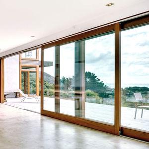 ventanal levadizo corredero / de madera / con vidrio doble / estanco