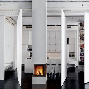 chimenea de leña / contemporánea / hogar cerrado / de 3 caras