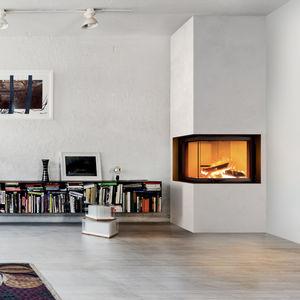 chimenea de leña / contemporánea / hogar cerrado / de esquina