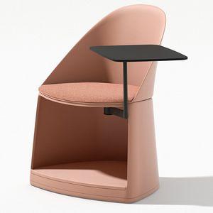 silla contemporánea / con ruedas / con mesita / con cojín amovible