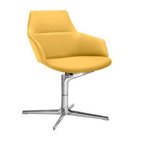 sillón de visita contemporáneo / de tejido / de cuero / de aluminio