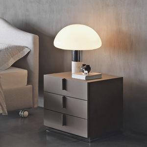 mesilla de noche contemporánea / de madera / con base metálica / rectangular