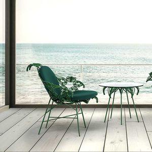 sillón contemporáneo / de tejido / de ratán / de acero