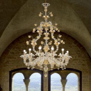 lámpara araña clásica / de cristal de Murano / de vidrio soplado / de incandescencia