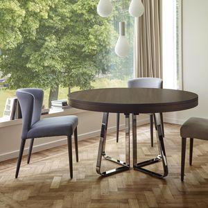 mesa de comedor contemporánea / de acero / de acero lacado / con base de acero cromado