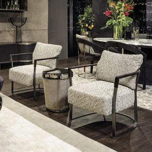 sillón contemporáneo / de tejido / de cuero / de madera maciza