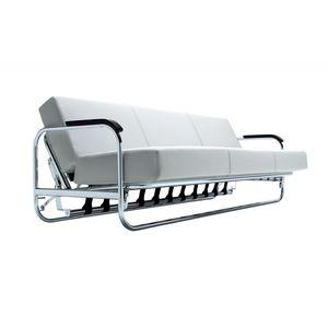 sofá cama / contemporáneo / de cuero / de madera maciza