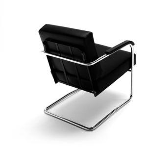 sillón contemporáneo / de cuero / de madera maciza / de acero cromado