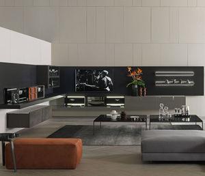 mueble TV contemporáneo / de madera / de vidrio / de melamina