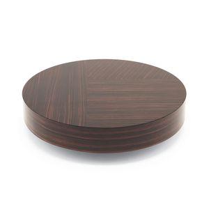 mesa de centro contemporánea / de madera / con base de madera / redonda