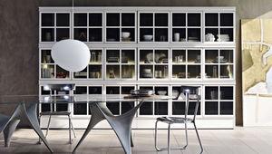 biblioteca alta / contemporánea / de madera lacada / de metal lacado