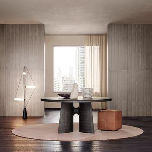 mesa contemporánea / de madera / rectangular / redonda