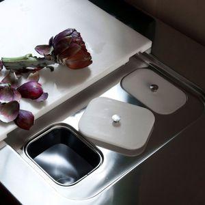 cubo de basura para cocina / empotrable / de acero inoxidable / contemporáneo