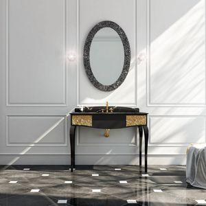 mueble de lavabo de pie / de mármol / clásico / con espejo