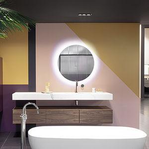 mueble de lavabo mural / de chapa de madera / de mármol / de cuarzo