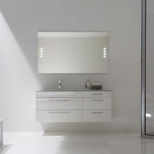 mueble de lavabo suspendido / laminado / de diseño / con espejo luminoso