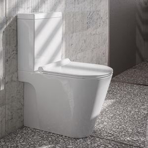WC de pie / monobloque / de cerámica / con accionador de cisterna
