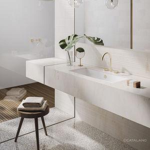 lavabo bajo encimera / rectangular / de cerámica / contemporáneo