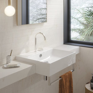 lavabo semiencastrado / rectangular / de cerámica / contemporáneo