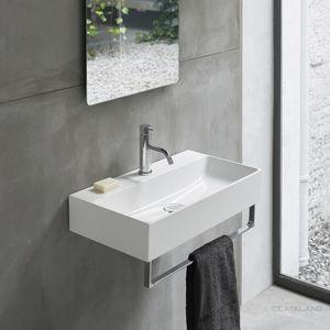 lavabo suspendido / rectangular / de cerámica / contemporáneo