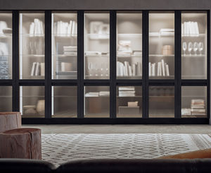 biblioteca alta / contemporánea / de roble / acristalada