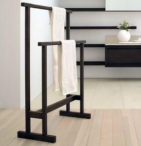 toallero 2 barras / de pie / de madera