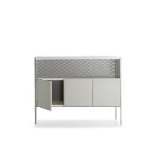 aparador contemporáneo / en chapas / con estantes / con paneles de vidrio