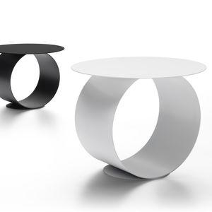 mesa de centro contemporánea / de acero / con base de acero / redonda