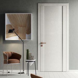 puerta de interior / abatible / de vidrio / de material laminado