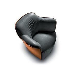 sillón contemporáneo / de tejido / de cuero / giratorio