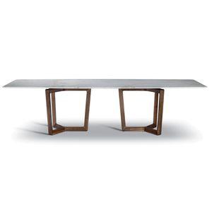 mesa de comedor contemporánea / de madera / de mármol / con base de madera