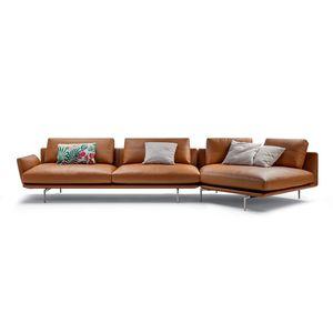 sofá de esquina / contemporáneo / de tejido / de cuero