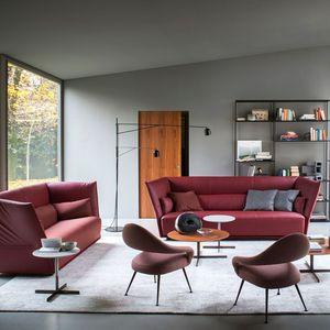 sofá contemporáneo / de tejido / de cuero / de madera