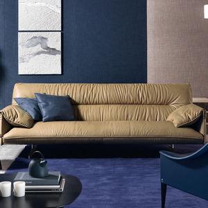 sofá contemporáneo / de cuero / de madera / de poliéster