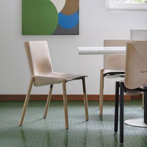 silla contemporánea / de metal / de madera / de cuero