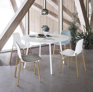 silla contemporánea / tapizada / de tejido / de haya
