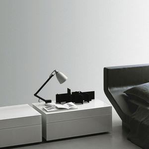 mesilla de noche contemporánea / de madera lacada / rectangular / para hotel