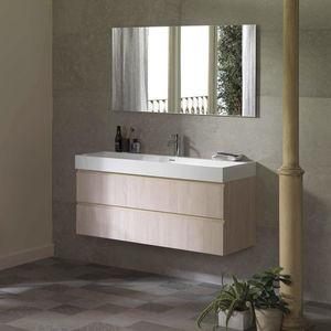 mueble de lavabo doble / suspendido / de roble / laminado