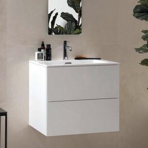 mueble de lavabo suspendido / de madera / laminado / de granito