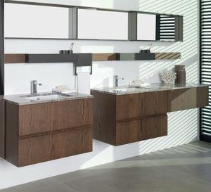 mueble de lavabo doble / suspendido / de madera / laminado