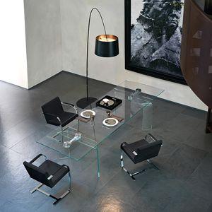 mesa de comedor contemporánea / de vidrio templado / de vidrio curvado / de acero inoxidable