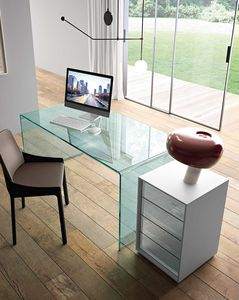 escritorio de vidrio / contemporáneo / para oficina / para trabajo a distancia